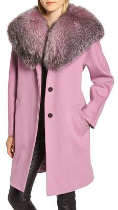 Fleurette Wool Cocoon Coat with Genuine Fox Fur Collar