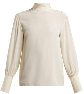 Chloé High Neck Silk Crepe De Chine Blouse - Womens - Ivory