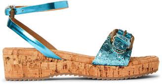 Stella McCartney Toddler/Kids Girls) Blue Linda Glitter Wedge Sandals
