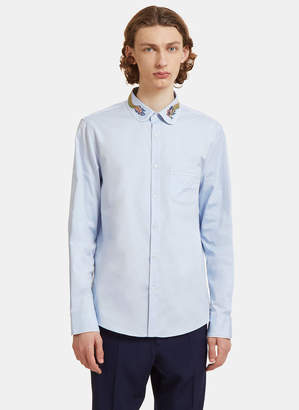 Gucci Dragon Embroidered Duke Shirt in Blue