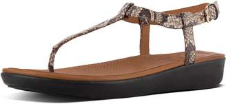 FitFlop Tia Snake-Print Leather Sandals