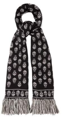 Alexander McQueen Skull Jacquard Wool Blend Scarf - Womens - Black