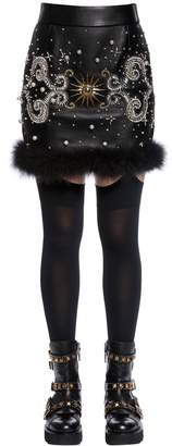 Fausto Puglisi Embellished Leather Skirt W/ Feathers