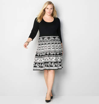 Avenue Scroll Contrast Sweater Dress