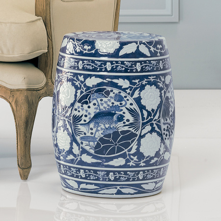 Blue and White Floral Stool