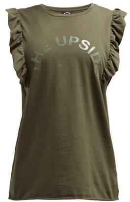 The Upside Frill Muscle Logo Printed Tank Top - Womens - Khaki