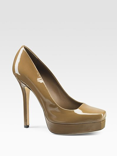 Gucci Tile Patent Leather Square-Toe Pumps