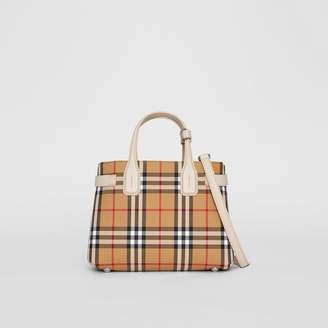 Burberry The Small Banner in Vintage Check and Leather, Grey