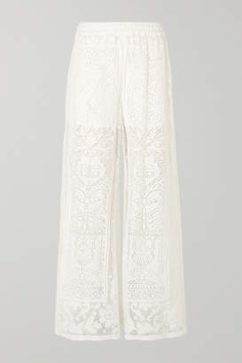 Dolce & Gabbana Crocheted Cotton-blend Lace Wide-leg Pants - White