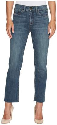 NYDJ Marilyn Straight Ankle Jeans w/ Raw Hem in Crosshatch Denim in Desert Gold Women's Jeans