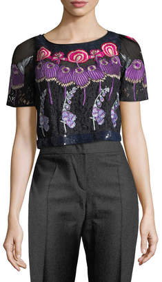 Temperley London Floral Embroidery Crop Top