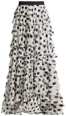 Norma Kamali Tiered Polka Dot Crepe Maxi Skirt - Womens - White Print