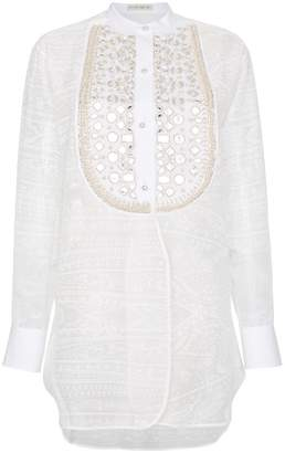 Etro Silk mirror embellished bib blouse