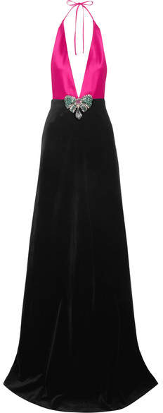 Gucci - Embellished Cotton-blend Velvet And Silk-satin Halterneck Gown - Fuchsia