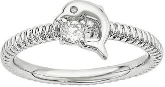 FINE JEWELRY Genuine White Topaz and Diamond-Accent Sterling Silver Stackable Dolphin Ring