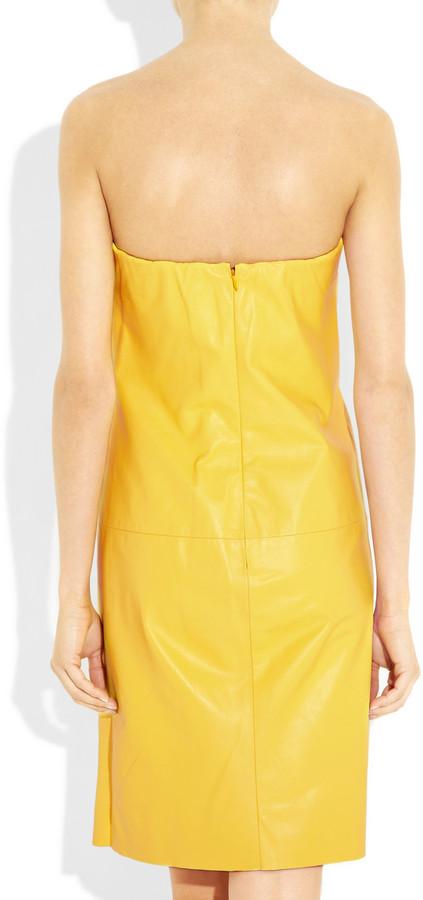 Ralph Lauren Eugenia strapless leather dress
