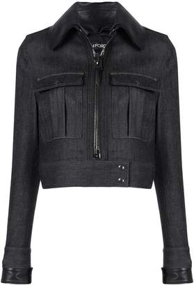 Tom Ford leather-effect collar denim jacket