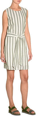 Eleventy Striped Self-Tie Cotton Mini Dress