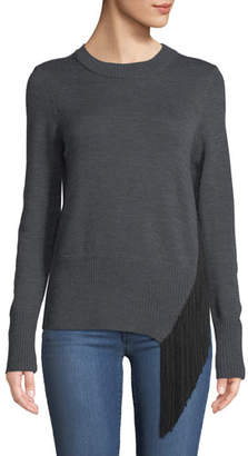 Milly Crewneck Long-Sleeve Pullover Wool Sweater w/ Angled Fringe
