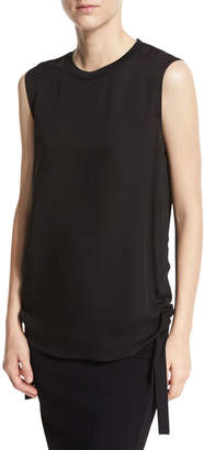 Vince Ruched Tie-Side Silk Tank