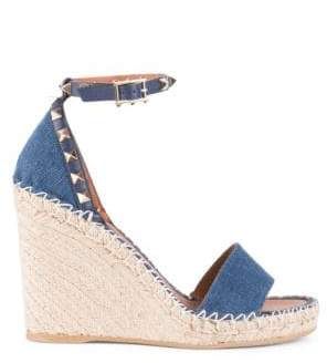 Valentino Rockstud Denim Espadrille Wedge Sandals