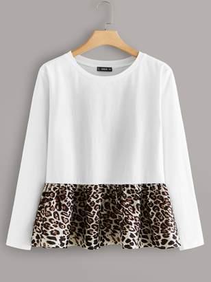 Shein Plus Leopard Print Peplum Tee