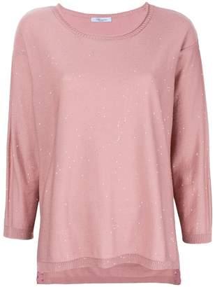 Blumarine round neck splatter knit top