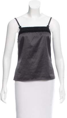 Christian Dior Satin Lace-Trimmed Top