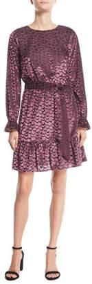 MICHAEL Michael Kors Scalloped Velvet Smocked-Cuff Dress