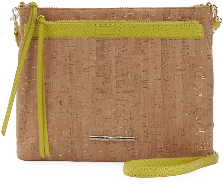 Elaine Turner Mara Gold Fleck Cork Shoulder Bag, Beige