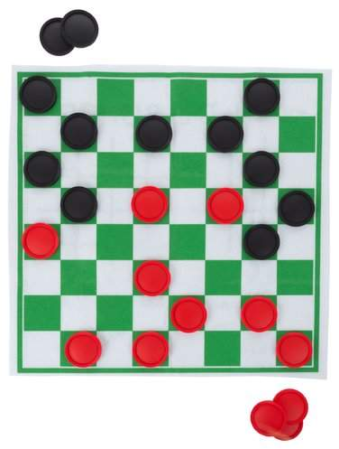 Hey! Play! Checkers and Tic Tac Toe Reversible Giant Board Game