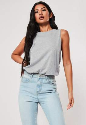 Missguided Gray Dropped Arm Plain Tank Top