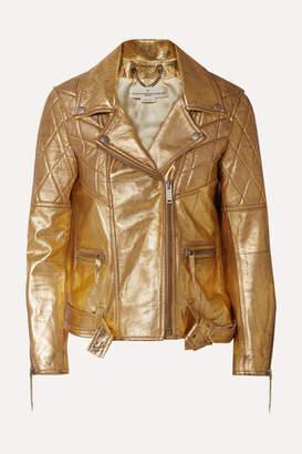 Golden Goose Metallic Textured-leather Biker Jacket - small