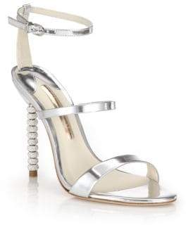 Sophia Webster Rosalind Crystal-Heel Metallic Leather Sandals