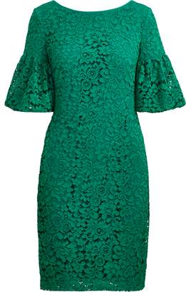 Ralph Lauren Shirred-Sleeve Lace Dress