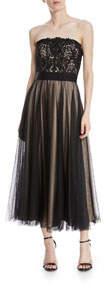 Kayson Graphic Lace Strapless Midi Dress