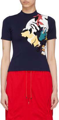 Angel Chen Tiger graphic print mock neck T-shirt