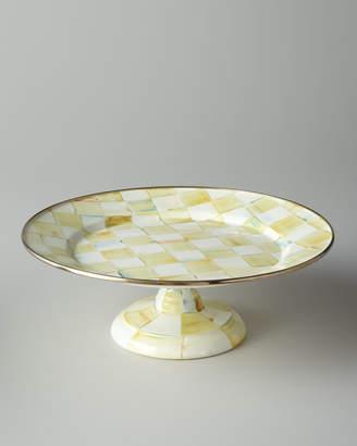Mackenzie Childs MacKenzie-Childs Parchment Check Small Pedestal Platter