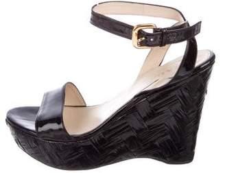 Prada Ankle-Strap Wedge Sandals