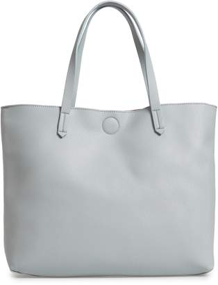 BP Contrast Lining Faux Leather Tote