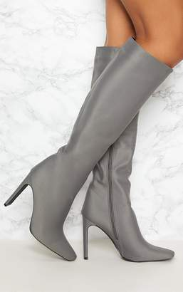 PrettyLittleThing Charcoal Grey Knee High Heeled Boot