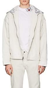 424 Men's Paisley Cotton Denim Hoodie - White