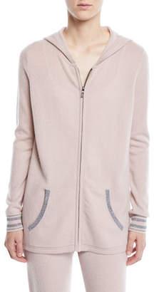 Neiman Marcus Luxury Cashmere Metallic-Trim Zip-Front Hoodie