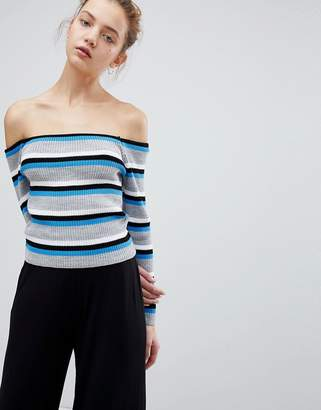 Daisy Street Off Shoulder Sweater In Fine Stripe