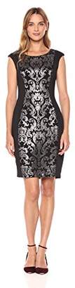Jax Women's Brocade Panel Knit Sheath