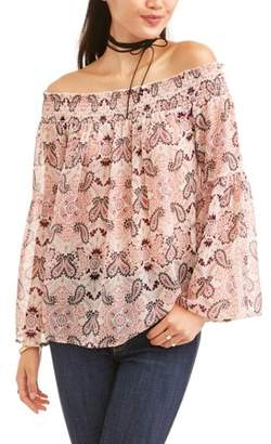 No Comment Juniors' Smocked Printed Bell Sleeve Off The Shoulder Peasant Blouse