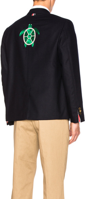 Thom Browne Turtle Icon Embroidery Lightweight Cashmere Blazer $3,500 thestylecure.com