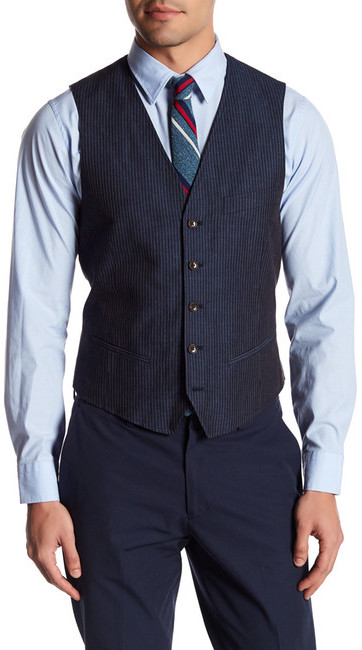 Bonobos Bonobos Foundation Navy Striped Five Button Vest