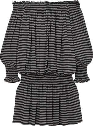 Norma Kamali Off-the-shoulder Shirred Striped Stretch-jersey Mini Dress
