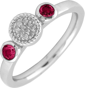 Simply Stacks Sterling & Double Round Ruby Diamond Ring